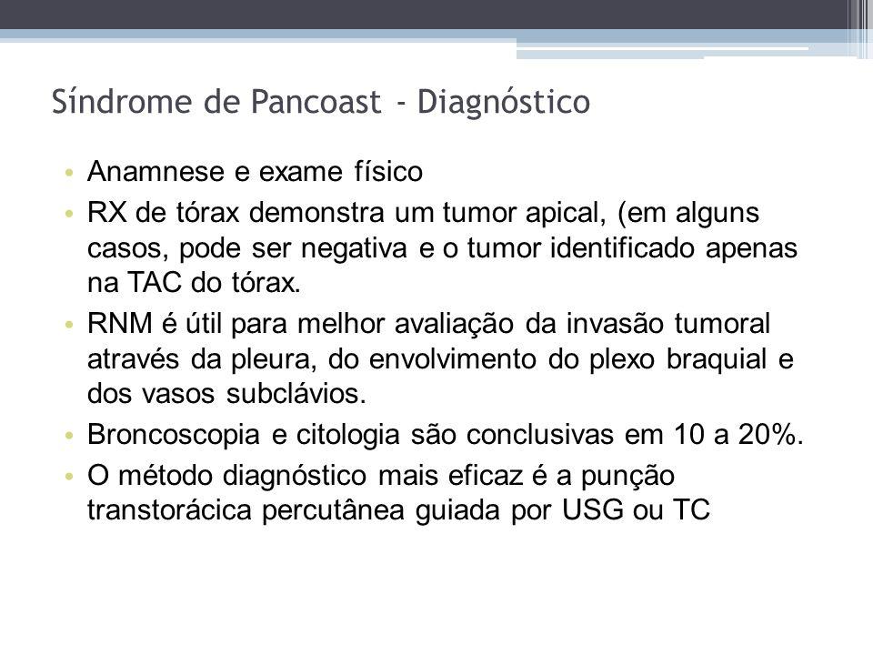 Anamnese e exame físico RX de tórax demonstra um tumor apical, (em alguns casos, pode ser negativa e o tumor identificado apenas na TAC do tórax. RNM