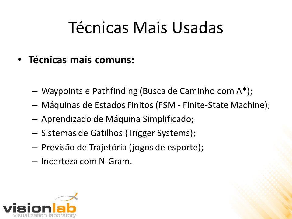 Técnicas Mais Usadas Técnicas mais comuns: – Waypoints e Pathfinding (Busca de Caminho com A*); – Máquinas de Estados Finitos (FSM - Finite-State Mach