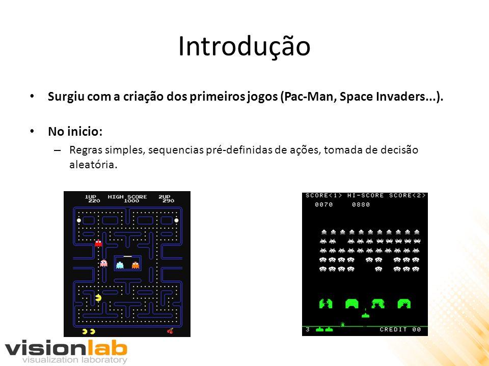 Introdução Surgiu com a criação dos primeiros jogos (Pac-Man, Space Invaders...). No inicio: – Regras simples, sequencias pré-definidas de ações, toma