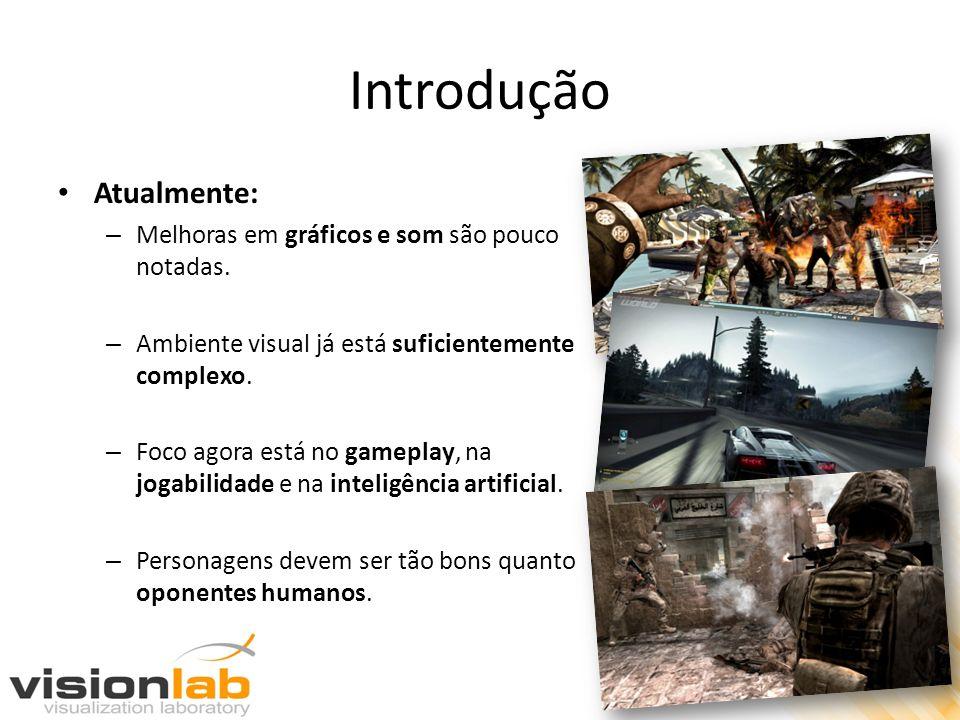 Introdução Atualmente: – Melhoras em gráficos e som são pouco notadas. – Ambiente visual já está suficientemente complexo. – Foco agora está no gamepl