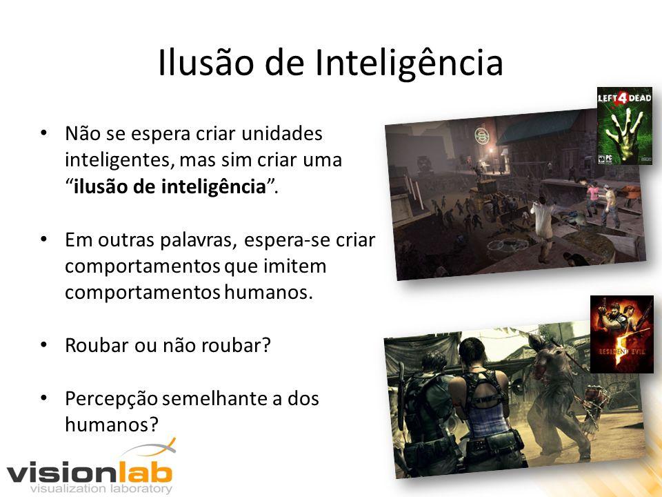 Ilusão de Inteligência Não se espera criar unidades inteligentes, mas sim criar umailusão de inteligência. Em outras palavras, espera-se criar comport