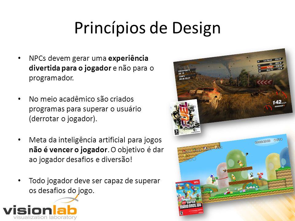 Princípios de Design NPCs devem gerar uma experiência divertida para o jogador e não para o programador. No meio acadêmico são criados programas para