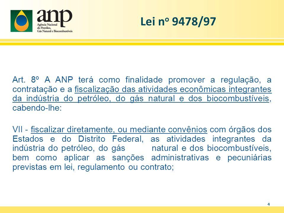 4 Art. 8º A ANP terá como finalidade promover a regulação, a contratação e a fiscalização das atividades econômicas integrantes da indústria do petról