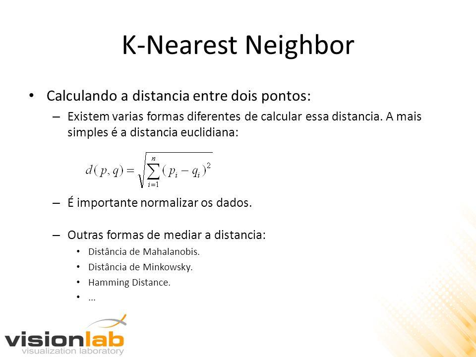K-Nearest Neighbor Determinando a classe do exemplo desconhecido a partir da de lista de vizinhos mais próximos: – Considera-se o voto majoritário entre os rótulos de classe dos K vizinhos mais próximos.
