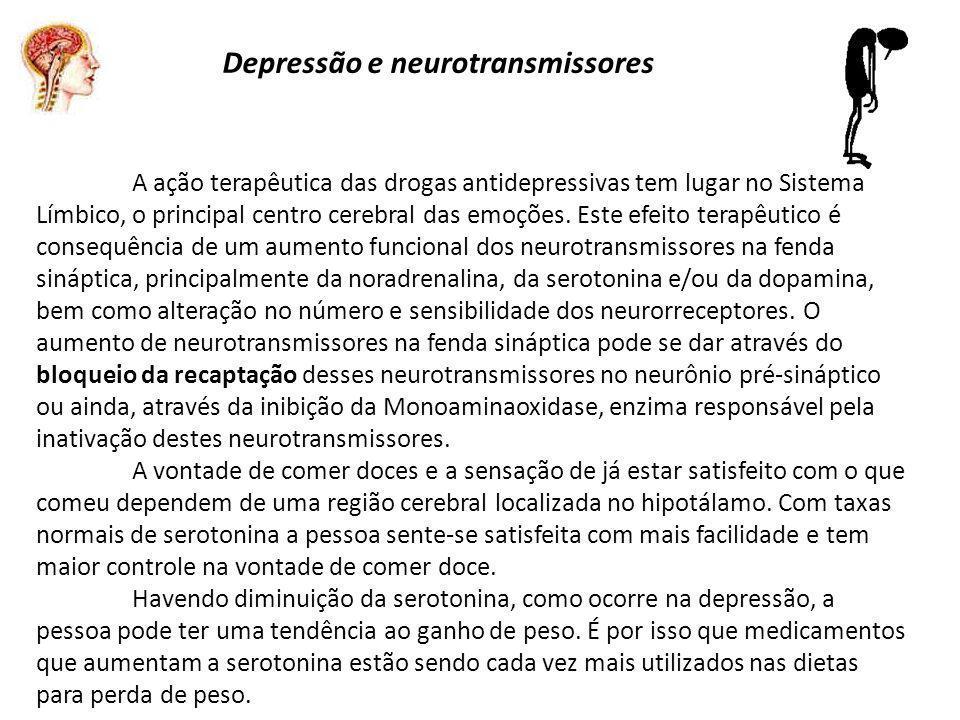 Depressão e neurotransmissores A ação terapêutica das drogas antidepressivas tem lugar no Sistema Límbico, o principal centro cerebral das emoções.