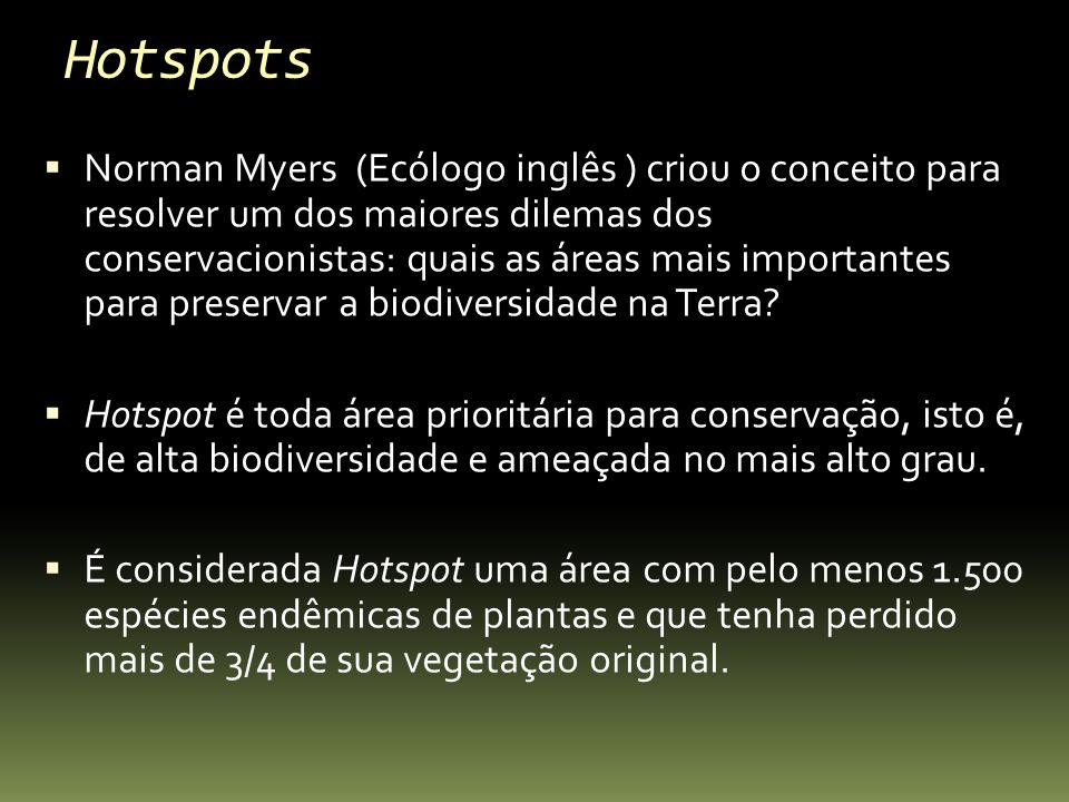 Hotspots Norman Myers (Ecólogo inglês ) criou o conceito para resolver um dos maiores dilemas dos conservacionistas: quais as áreas mais importantes p