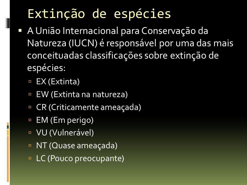 Extinção de espécies A União Internacional para Conservação da Natureza (IUCN) é responsável por uma das mais conceituadas classificações sobre extinç