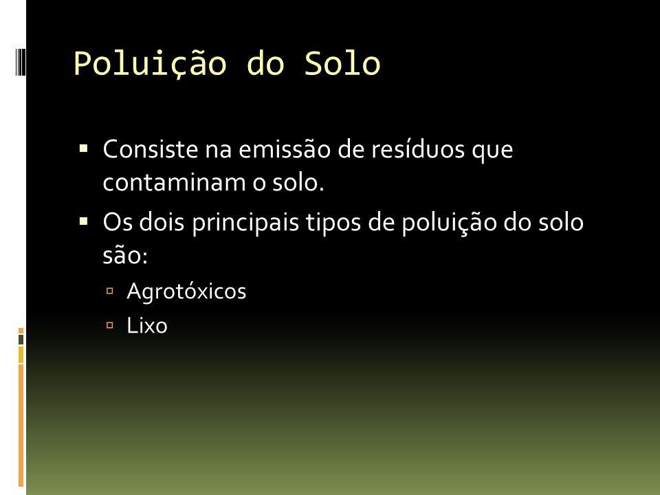 Poluição do Solo Consiste na emissão de resíduos que contaminam o solo. Os dois principais tipos de poluição do solo são: Agrotóxicos Lixo