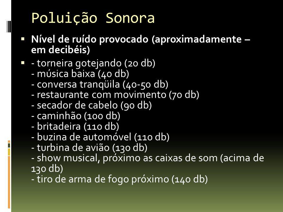 Poluição Sonora Nível de ruído provocado (aproximadamente – em decibéis) - torneira gotejando (20 db) - música baixa (40 db) - conversa tranqüila (40-