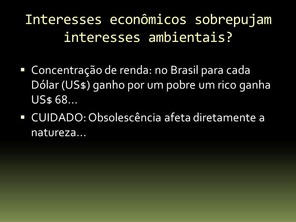 Interesses econômicos sobrepujam interesses ambientais? Concentração de renda: no Brasil para cada Dólar (US$) ganho por um pobre um rico ganha US$ 68