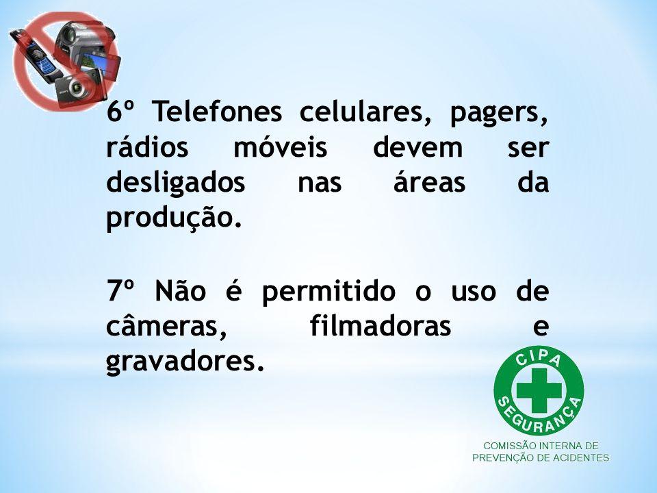6º Telefones celulares, pagers, rádios móveis devem ser desligados nas áreas da produção. 7º Não é permitido o uso de câmeras, filmadoras e gravadores