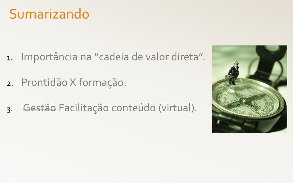1. Importância na cadeia de valor direta. 2. Prontidão X formação. 3. Gestão Facilitação conteúdo (virtual). Sumarizando