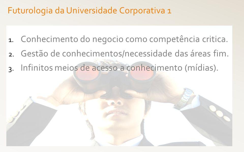 1. Conhecimento do negocio como competência critica. 2. Gestão de conhecimentos/necessidade das áreas fim. 3. Infinitos meios de acesso a conhecimento