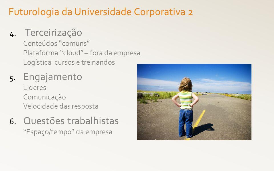 4. Terceirização Conteúdos comuns Plataforma cloud – fora da empresa Logística cursos e treinandos 5. Engajamento Lideres Comunicação Velocidade das r