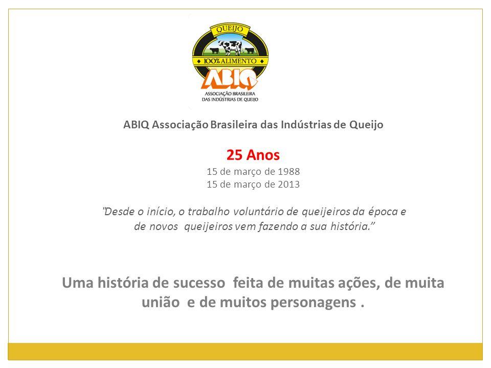 ABIQ Associação Brasileira das Indústrias de Queijo 25 Anos 15 de março de 1988 15 de março de 2013 Desde o início, o trabalho voluntário de queijeiro