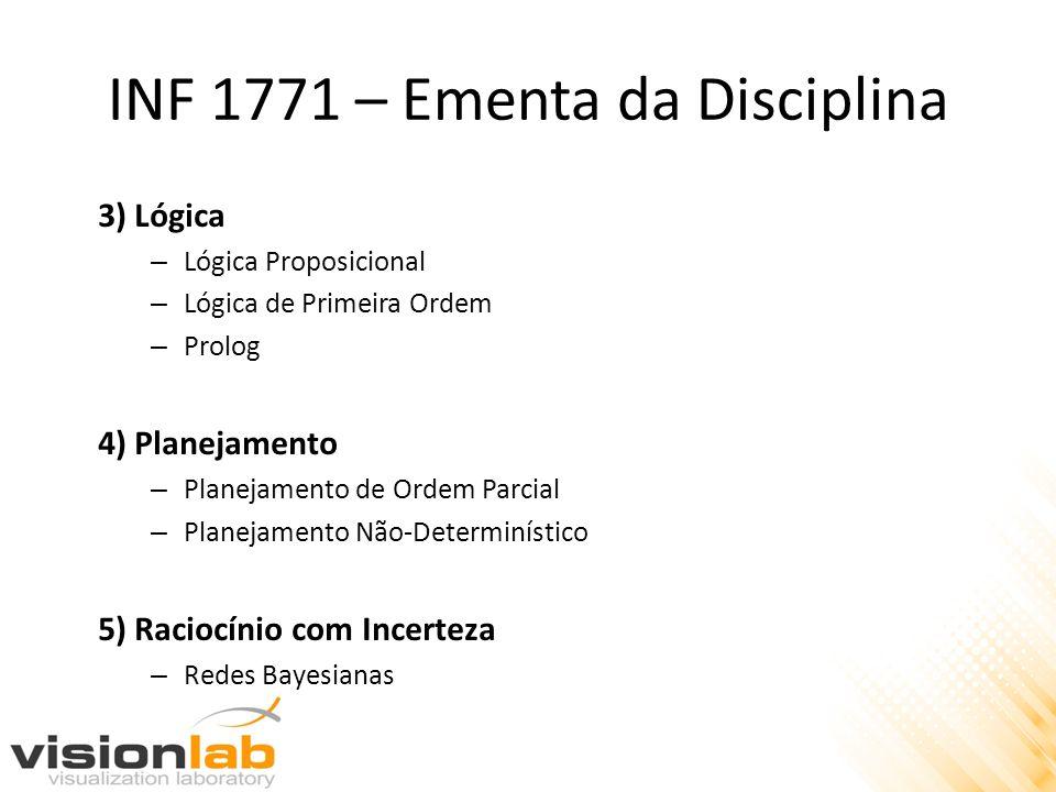 INF 1771 – Ementa da Disciplina 3) Lógica – Lógica Proposicional – Lógica de Primeira Ordem – Prolog 4) Planejamento – Planejamento de Ordem Parcial –