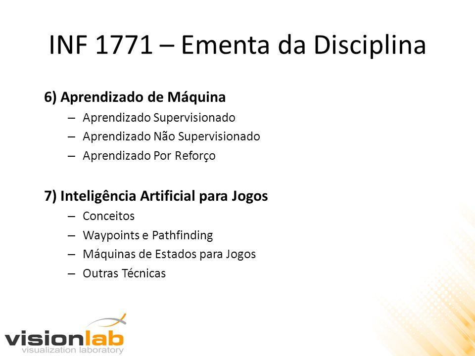 INF 1771 – Ementa da Disciplina 6) Aprendizado de Máquina – Aprendizado Supervisionado – Aprendizado Não Supervisionado – Aprendizado Por Reforço 7) I