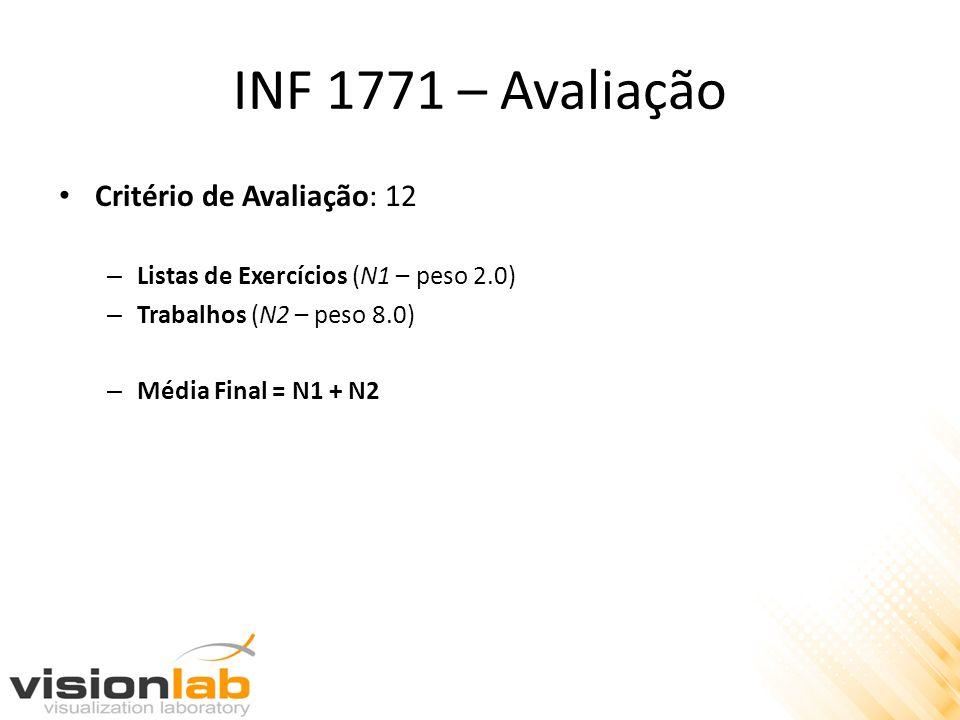 INF 1771 – Avaliação Critério de Avaliação: 12 – Listas de Exercícios (N1 – peso 2.0) – Trabalhos (N2 – peso 8.0) – Média Final = N1 + N2