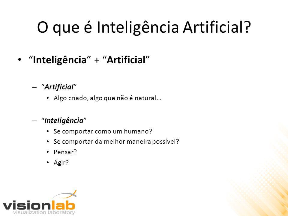 O que é Inteligência Artificial? Inteligência + Artificial –Artificial Algo criado, algo que não é natural... –Inteligência Se comportar como um human