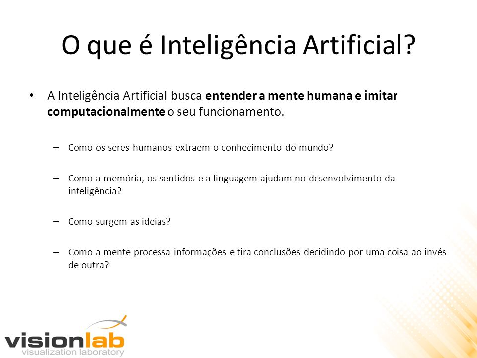 INF 1771 – Inteligência Artificial Objetivo da Disciplina: – Apresentar os principais conceitos e técnicas de inteligência artificial focando principalmente na aplicação prática destas técnicas.
