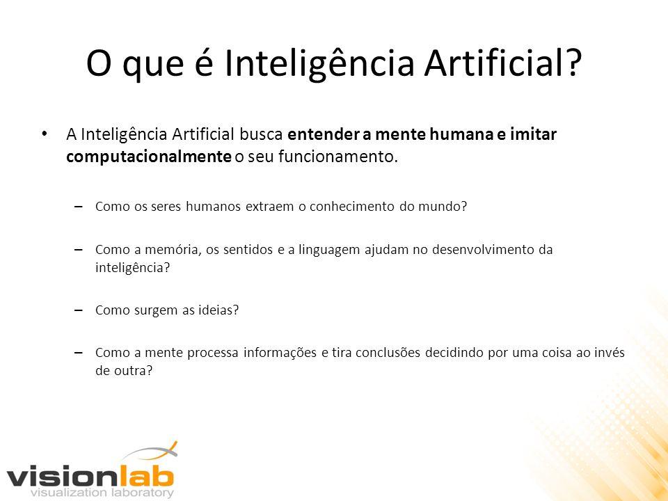 O que é Inteligência Artificial? A Inteligência Artificial busca entender a mente humana e imitar computacionalmente o seu funcionamento. – Como os se