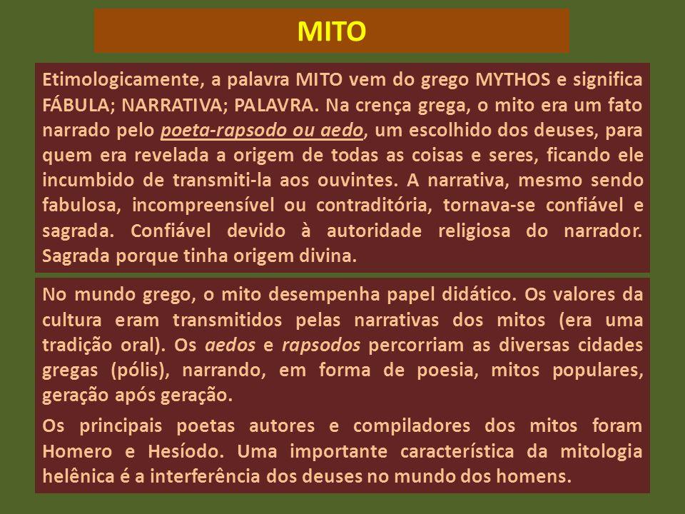 Etimologicamente, a palavra MITO vem do grego MYTHOS e significa FÁBULA; NARRATIVA; PALAVRA. Na crença grega, o mito era um fato narrado pelo poeta-ra