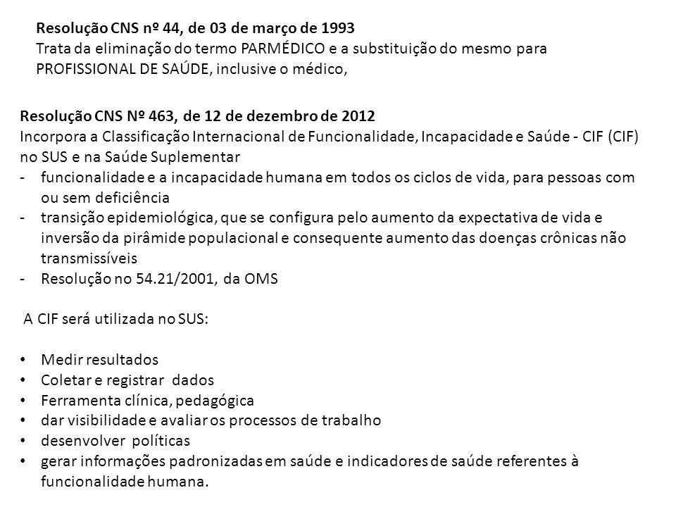 Resolução CNS nº 44, de 03 de março de 1993 Trata da eliminação do termo PARMÉDICO e a substituição do mesmo para PROFISSIONAL DE SAÚDE, inclusive o m