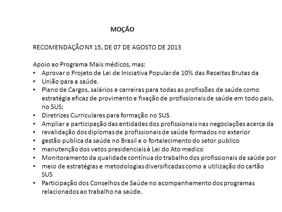 MOÇÃO RECOMENDAÇÃO Nº 15, DE 07 DE AGOSTO DE 2013 Apoio ao Programa Mais médicos, mas: Aprovar o Projeto de Lei de Iniciativa Popular de 10% das Recei
