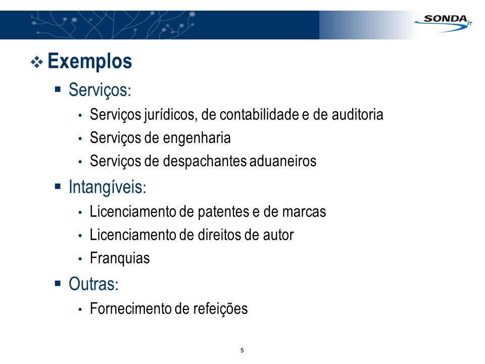 5 Exemplos Serviços : Serviços jurídicos, de contabilidade e de auditoria Serviços de engenharia Serviços de despachantes aduaneiros Intangíveis : Lic