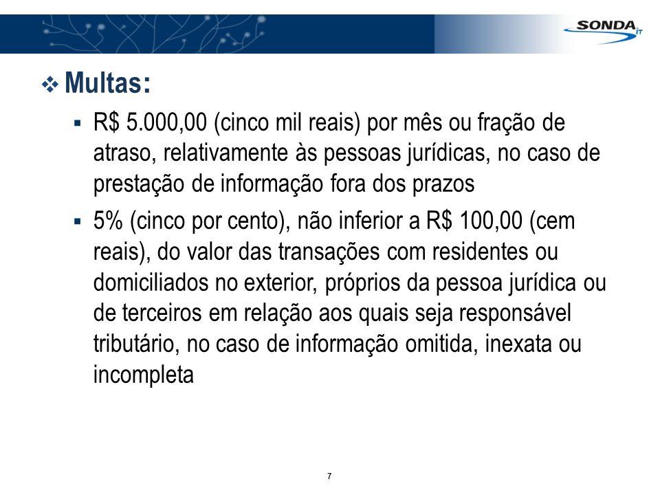 7 Multas : R$ 5.000,00 (cinco mil reais) por mês ou fração de atraso, relativamente às pessoas jurídicas, no caso de prestação de informação fora dos