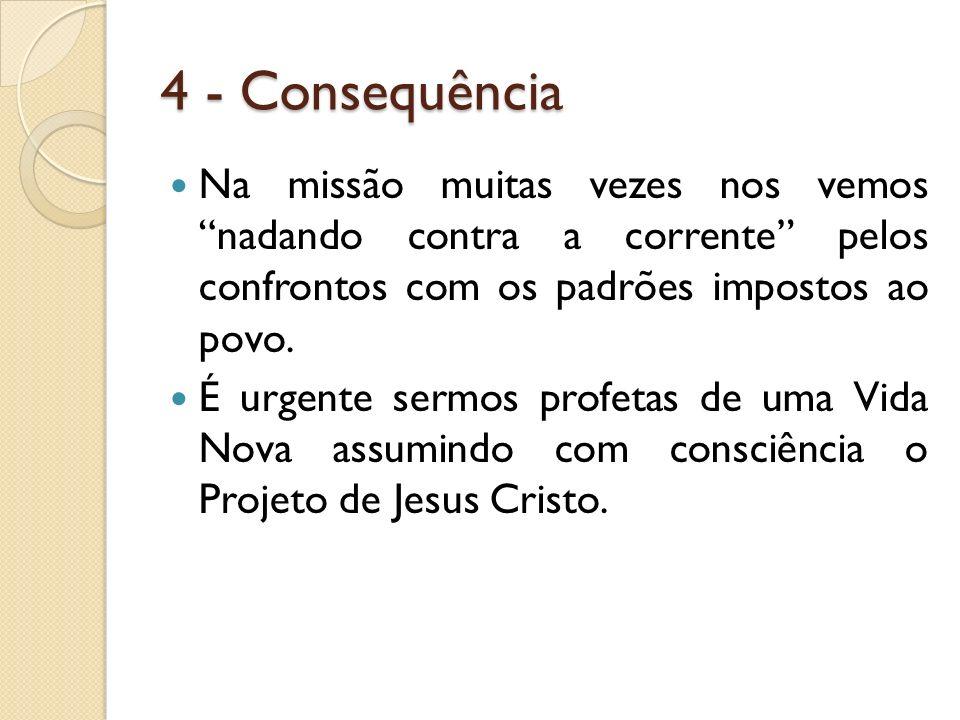 4 - Consequência Na missão muitas vezes nos vemos nadando contra a corrente pelos confrontos com os padrões impostos ao povo. É urgente sermos profeta