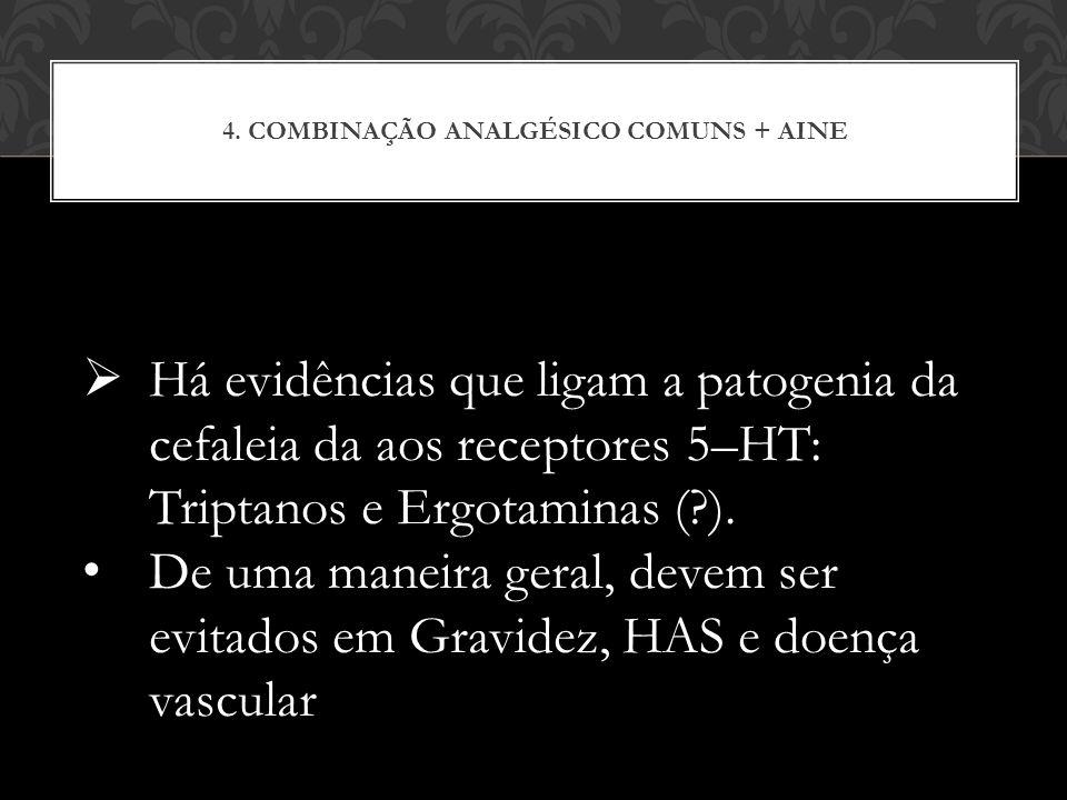 4. COMBINAÇÃO ANALGÉSICO COMUNS + AINE Há evidências que ligam a patogenia da cefaleia da aos receptores 5–HT: Triptanos e Ergotaminas (?). De uma man