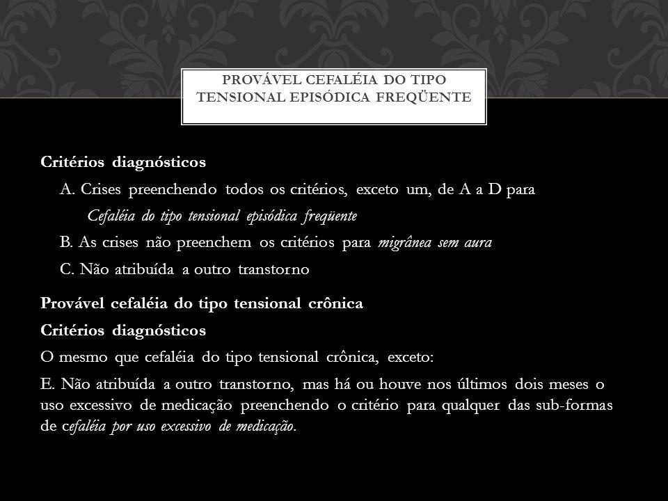 Critérios diagnósticos A.