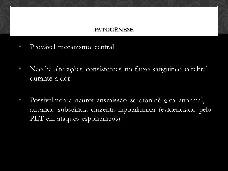 PATOGÊNESE Provável mecanismo central Não há alterações consistentes no fluxo sanguíneo cerebral durante a dor Possivelmente neurotransmissão serotoninérgica anormal, ativando substância cinzenta hipotalâmica (evidenciado pelo PET em ataques espontâneos)