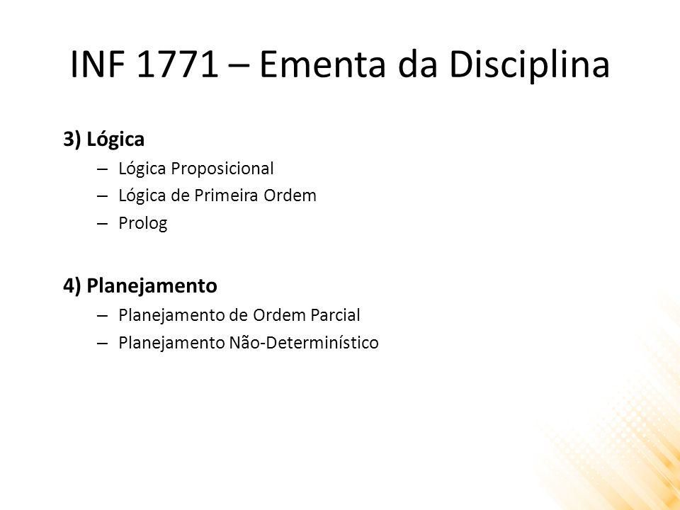INF 1771 – Ementa da Disciplina 3) Lógica – Lógica Proposicional – Lógica de Primeira Ordem – Prolog 4) Planejamento – Planejamento de Ordem Parcial – Planejamento Não-Determinístico