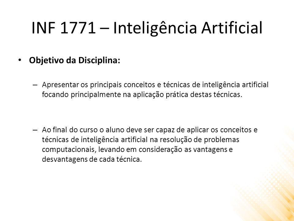 INF 1771 – Inteligência Artificial Pré-Requisitos: – Programação Qualquer linguagem; – Estruturas de dados Pilha, Fila, Lista; Árvore; – Lógica Lógica proposicional; Lógica de primeira ordem;