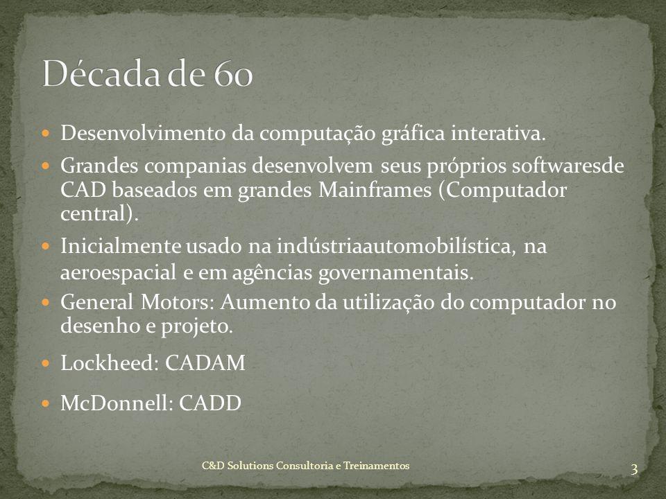 Desenvolvimento da computação gráfica interativa. Grandes companias desenvolvem seus próprios softwaresde CAD baseados em grandes Mainframes (Computad