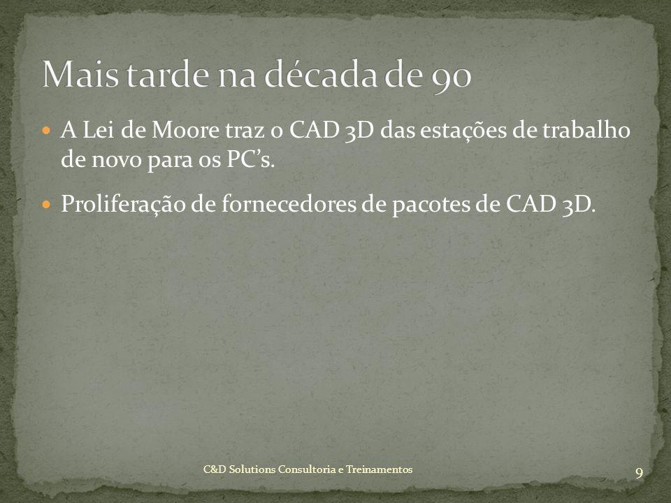 A Lei de Moore traz o CAD 3D das estações de trabalho de novo para os PCs. Proliferação de fornecedores de pacotes de CAD 3D. 9 C&D Solutions Consulto