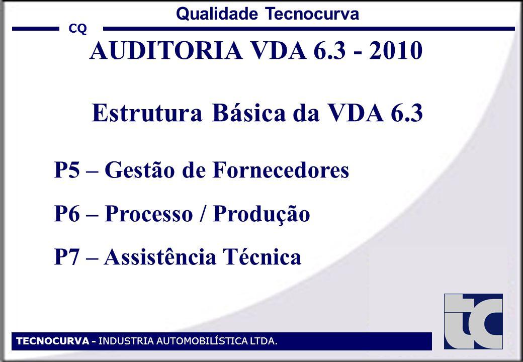 CQ TECNOCURVA - INDUSTRIA AUTOMOBILÍSTICA LTDA. Qualidade Tecnocurva AUDITORIA VDA 6.3 - 2010 Estrutura Básica da VDA 6.3 P5 – Gestão de Fornecedores