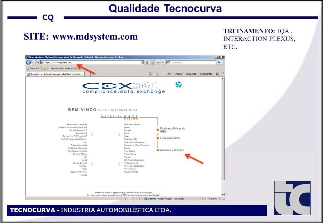 CQ TECNOCURVA - INDUSTRIA AUTOMOBILÍSTICA LTDA. Qualidade Tecnocurva SITE: www.mdsystem.com TREINAMENTO: IQA, INTERACTION PLEXUS, ETC.