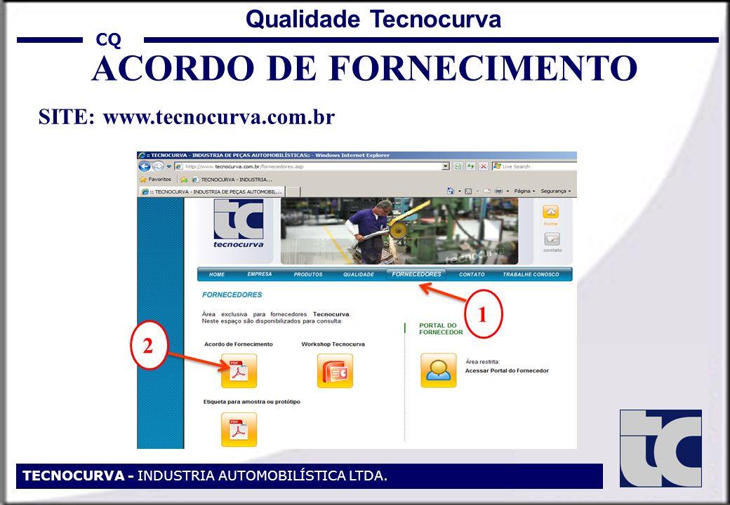 CQ TECNOCURVA - INDUSTRIA AUTOMOBILÍSTICA LTDA. Qualidade Tecnocurva ACORDO DE FORNECIMENTO SITE: www.tecnocurva.com.br 1 2