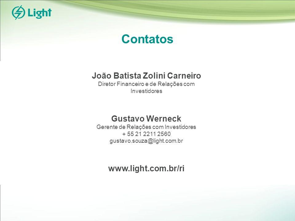 Contatos João Batista Zolini Carneiro Diretor Financeiro e de Relações com Investidores Gustavo Werneck Gerente de Relações com Investidores + 55 21 2211 2560 gustavo.souza@light.com.br www.light.com.br/ri