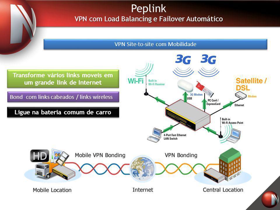Peplink VPN com Load Balancing e Failover Automático VPN Site-to-site com Mobilidade Transforme vários links moveis em um grande link de Internet Ligu