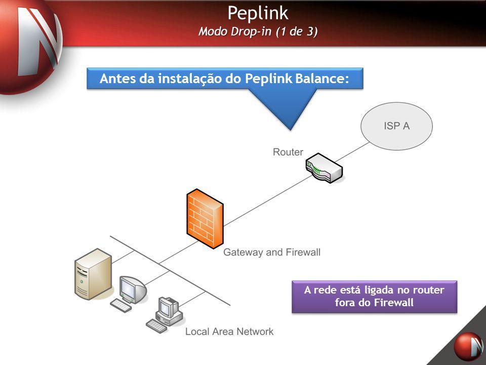 Peplink Modo Drop-in (1 de 3) Antes da instalação do Peplink Balance: A rede está ligada no router fora do Firewall