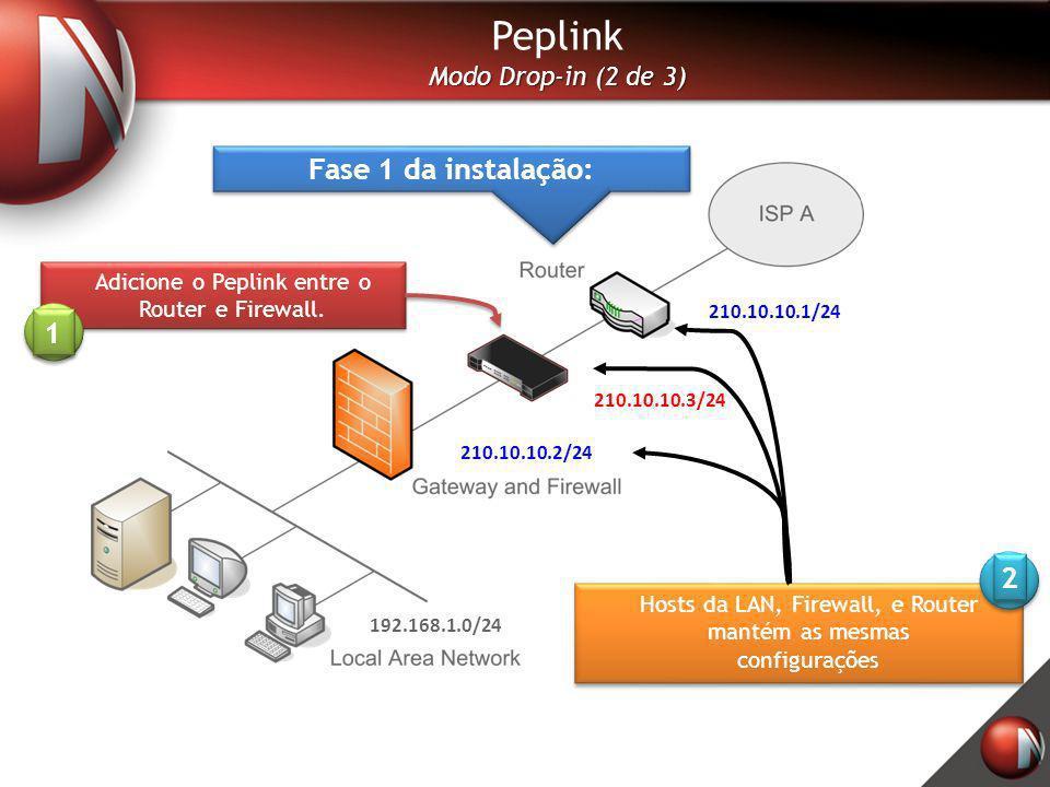 Peplink Modo Drop-in (2 de 3) Fase 1 da instalação: Adicione o Peplink entre o Router e Firewall. Hosts da LAN, Firewall, e Router mantém as mesmas co