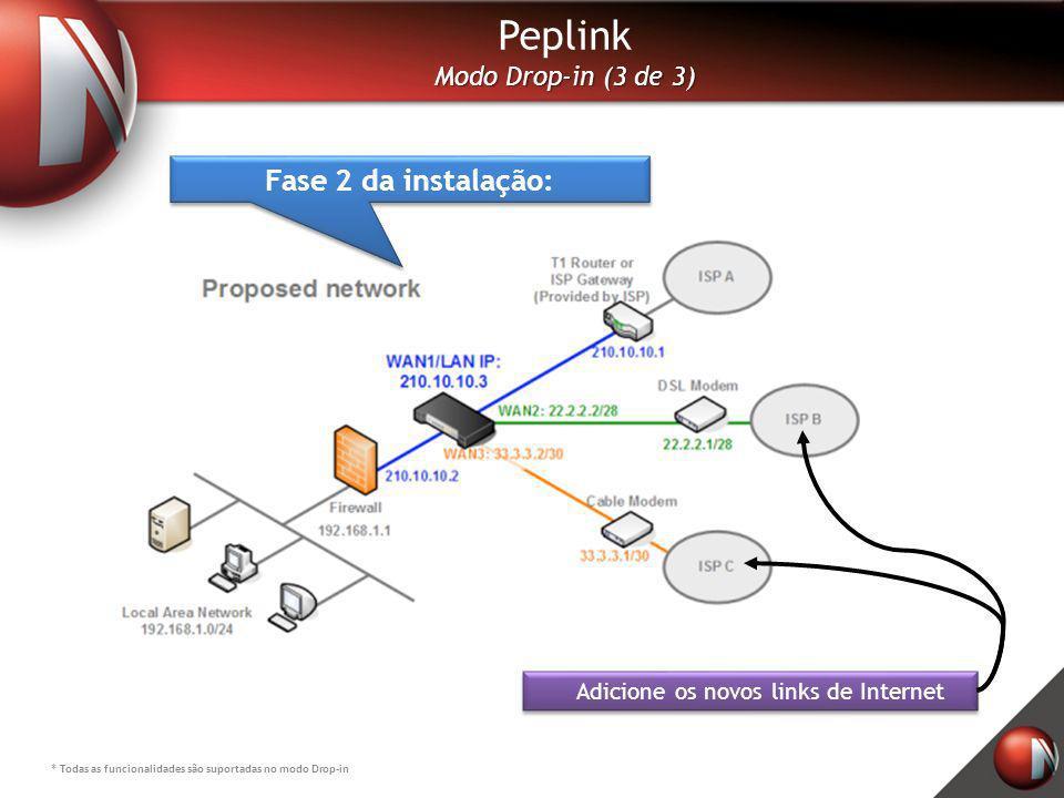 Peplink Modo Drop-in (3 de 3) * Todas as funcionalidades são suportadas no modo Drop-in Adicione os novos links de Internet Fase 2 da instalação:
