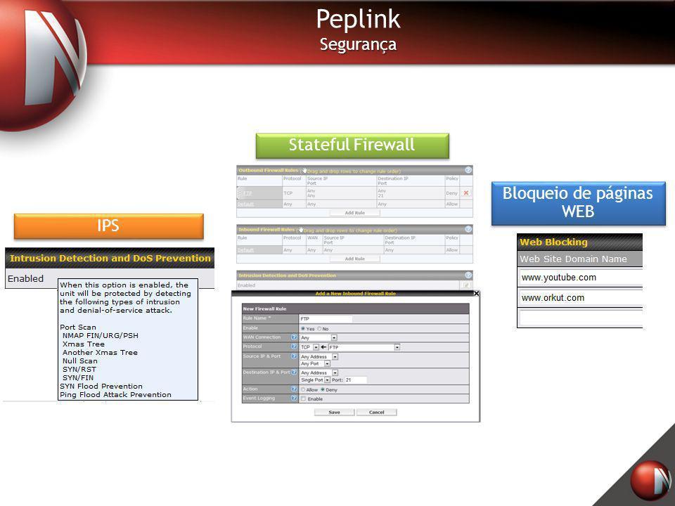 PeplinkSegurança Stateful Firewall IPS Bloqueio de páginas WEB