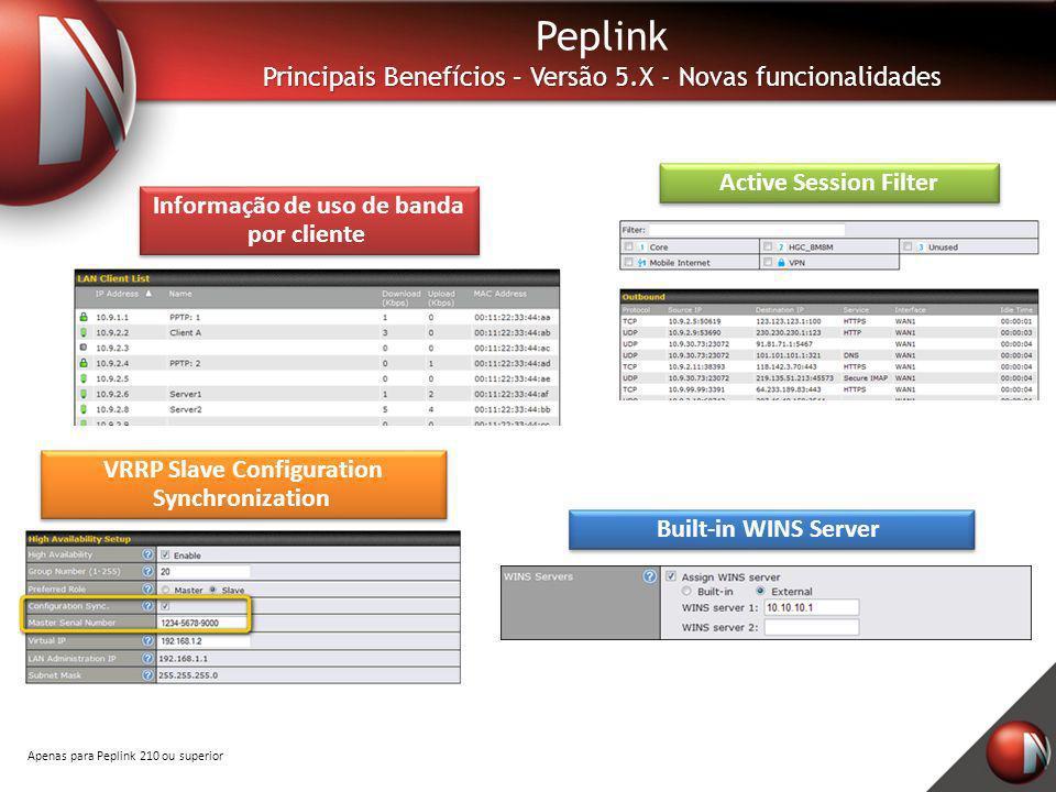 Active Session Filter Peplink Principais Benefícios – Versão 5.X - Novas funcionalidades Informação de uso de banda por cliente VRRP Slave Configurati