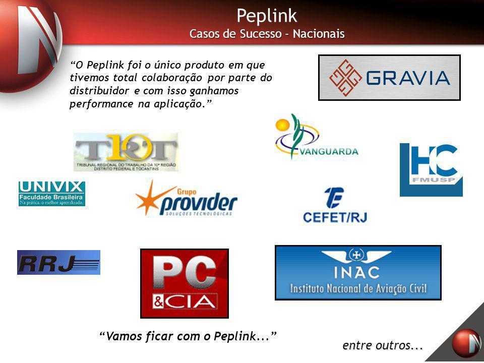 Peplink Casos de Sucesso - Nacionais O Peplink foi o único produto em que tivemos total colaboração por parte do distribuidor e com isso ganhamos perf