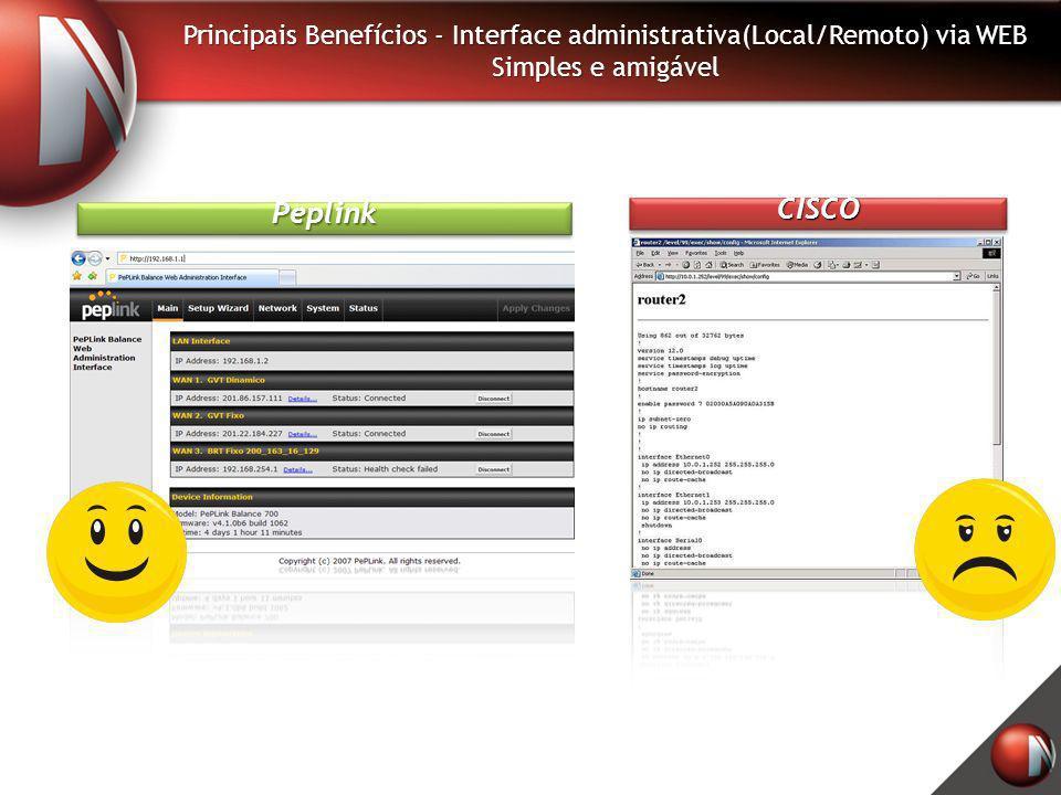 Principais Benefícios - Interface administrativa(Local/Remoto) via WEB Simples e amigável PeplinkPeplink CISCOCISCO